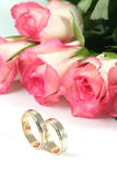 Wedding rings and roses. On white background Stock Photos