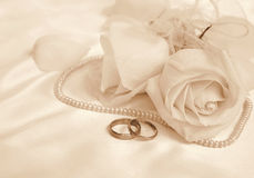 Wedding rings and roses as wedding background. In Sepia toned. R Royalty Free Stock Photos