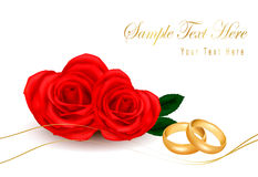 Wedding rings and roses bouquet. Vector Stock Photo