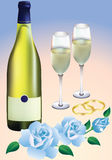 Wedding rings, roses and champagne. Wedding rings, blue roses, two glasses and a bottle of champagne Royalty Free Stock Image