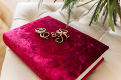 Wedding rings with roses Stock Image