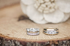 Wedding rings rustic setting Stock Images