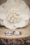 Wedding rings rustic setting Stock Photos