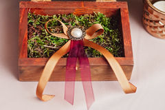 Wedding rings . Rustic style. Selective focus. Wedding rings in wooden vintage box on moss. Rustic style. Selective focus Royalty Free Stock Images