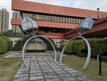 Wedding rings sculpture at Shatin Marriage Registry. Wedding rings sculpture at Shatin Hong Kong. It is a famous place for new couples to take wedding photos stock photo