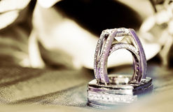 Wedding Rings in Sepia Stock Photos
