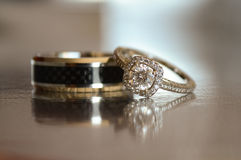 Wedding Rings. A set of a bride and groom's wedding rings Stock Image
