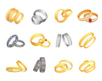Wedding rings set of gold and silver metal romantic nuptial hoop couple love golden jewelry isolated vector illustration Royalty Free Stock Image