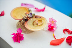 Wedding rings in the shells with the words of Boracay, Philippines. Wedding in the tropics, concept Royalty Free Stock Photo
