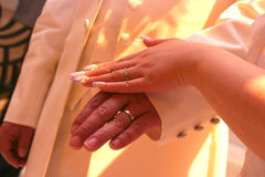 Wedding Rings Shot. Shake hands。take your hand to spend the whole life together with you。so moving royalty free stock images