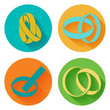 Wedding rings sign icon. 4 icons set. Vector Royalty Free Stock Photography