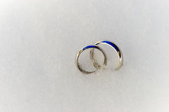Wedding Rings in the snow. Wedding Rings before the wedding ceremony in the snow Stock Images