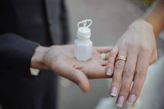 Wedding rings and soap bubbles stock image