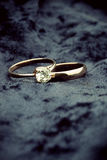 Wedding rings with solitaire diamond Stock Photos