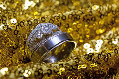 Wedding rings stacked on beautiful background. Wedding rings stacked on beautiful background Royalty Free Stock Photo