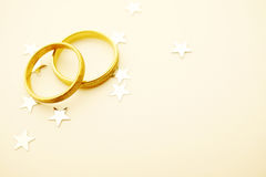 Wedding rings with stars Stock Photography