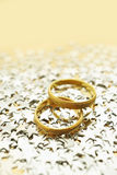 Wedding rings with stars Royalty Free Stock Photography