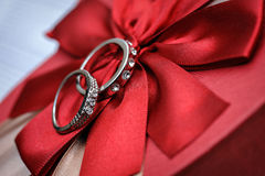 Wedding rings with stones on silk Stock Image