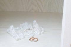 Wedding rings on a stump Royalty Free Stock Photos