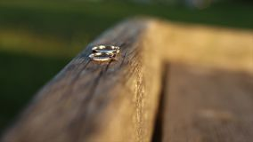 Wedding rings in the sunshine stock footage