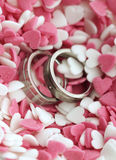 Wedding rings in sweet sugar hearts. Wedding rings in pink and white sugar hearts Royalty Free Stock Photography