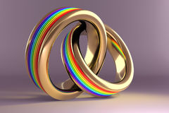 Wedding Rings symbolizing the same sex marriage. 3d illustration, Wedding Rings symbolizing the same sex marriage Royalty Free Stock Photos