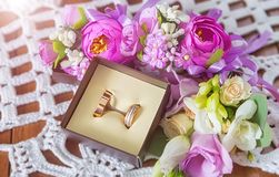 Wedding rings. Wedding symbols, attributes. Holiday, celebration. royalty free stock images