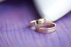 Wedding rings on the table Royalty Free Stock Photo