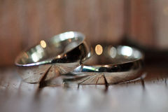 Wedding rings on the table Stock Photo