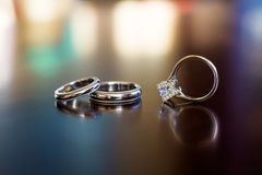 Wedding rings. On the table Stock Photo
