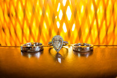 Wedding rings. On the table Royalty Free Stock Photo