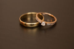 Wedding rings on a table Royalty Free Stock Image