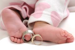 Wedding rings on the toes of a baby girl Royalty Free Stock Photo