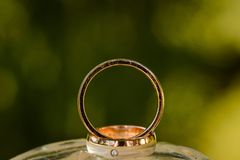 Wedding rings on top of each other. Two wedding rings on top of each other in sunlight on green background Stock Photo