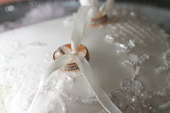 Wedding rings. Two wedding rings on a cushion Royalty Free Stock Image