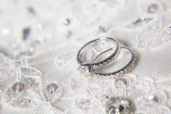 Wedding rings. Two wedding rings with diamond on platinum rings Stock Image
