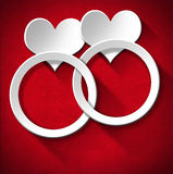 Wedding Rings and Two Hearts Royalty Free Stock Images