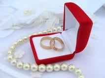 Wedding rings. Two wedding rings on white background stock photo