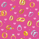 Wedding rings vector engagement symbol gold silver jewellery for proposal marriage wed sign will you marry me bridal. Illustration set seamless pattern Royalty Free Stock Photos
