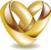 Wedding rings. Vector illustration of golden wedding rings shaped heart royalty free illustration