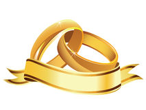 Wedding rings. Vector illustration of isolated wedding rings with banner Stock Images