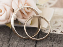 Wedding rings in the vintage arrangement Royalty Free Stock Image