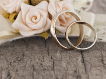 Wedding rings in the vintage arrangement Stock Images