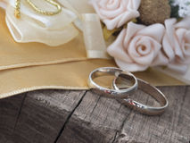 Wedding rings in the vintage arrangement Royalty Free Stock Photo