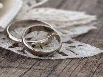 Wedding rings in the vintage arrangement Royalty Free Stock Photography