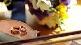 Wedding rings are on the violin. stock video