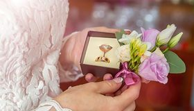 Wedding rings in hand. wedding rings in the hands of the bride. Stock Photo