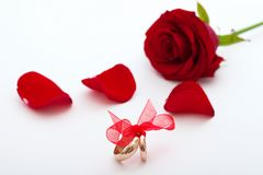 Wedding rings and wedding bouquet of red roses Royalty Free Stock Photos