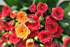 Wedding rings on wedding bouquet. With red roses Royalty Free Stock Images