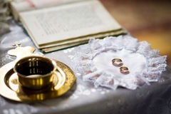 Wedding rings on a wedding ceremony in the church, wedding cerem Royalty Free Stock Image